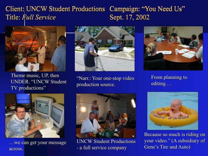 "Client: UNCW Student Productions  Campaign: ""You Need Us"""