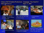 client uncw student productions campaign you need us title full service sept 17 2002