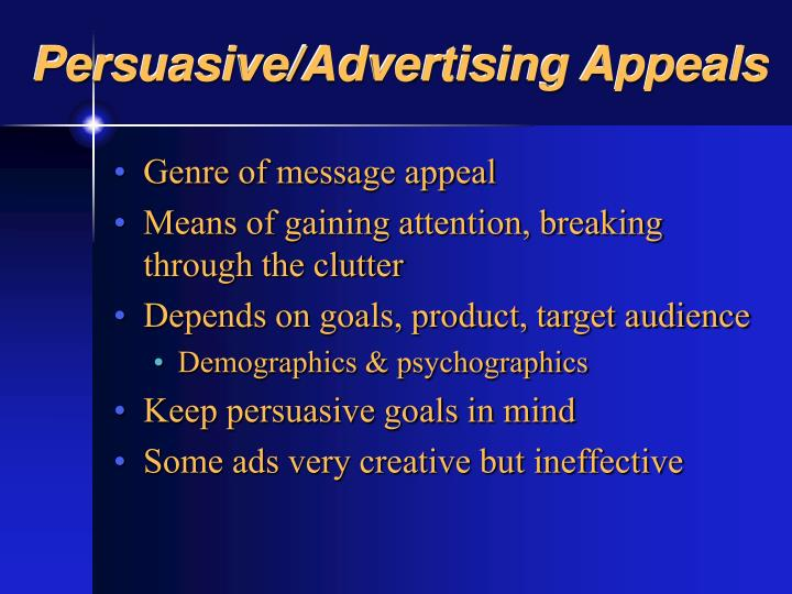 Persuasive/Advertising Appeals