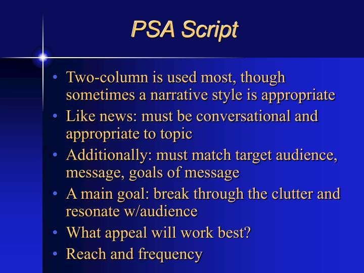PSA Script