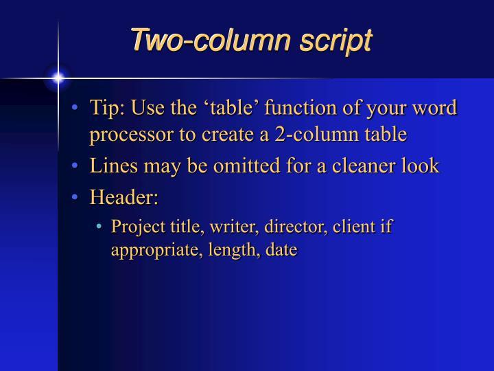 Two-column script