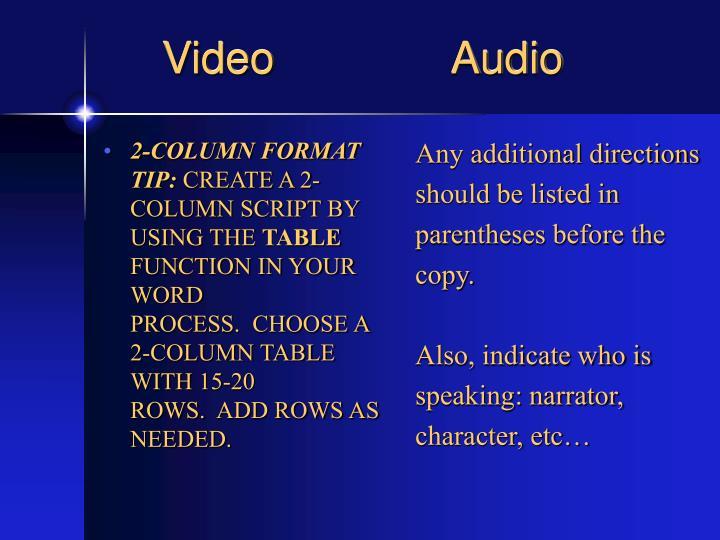 2-COLUMN FORMAT TIP: