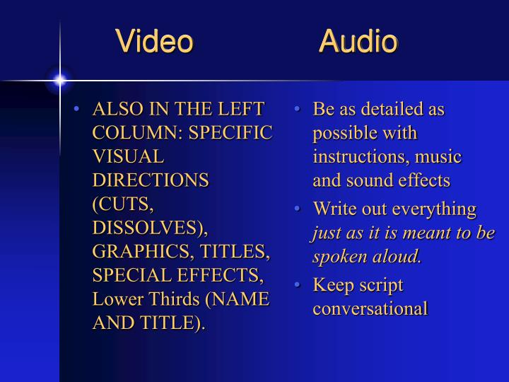 ALSO IN THE LEFT COLUMN: SPECIFIC VISUAL DIRECTIONS (CUTS, DISSOLVES), GRAPHICS, TITLES, SPECIAL EFFECTS, Lower Thirds (NAME AND TITLE).