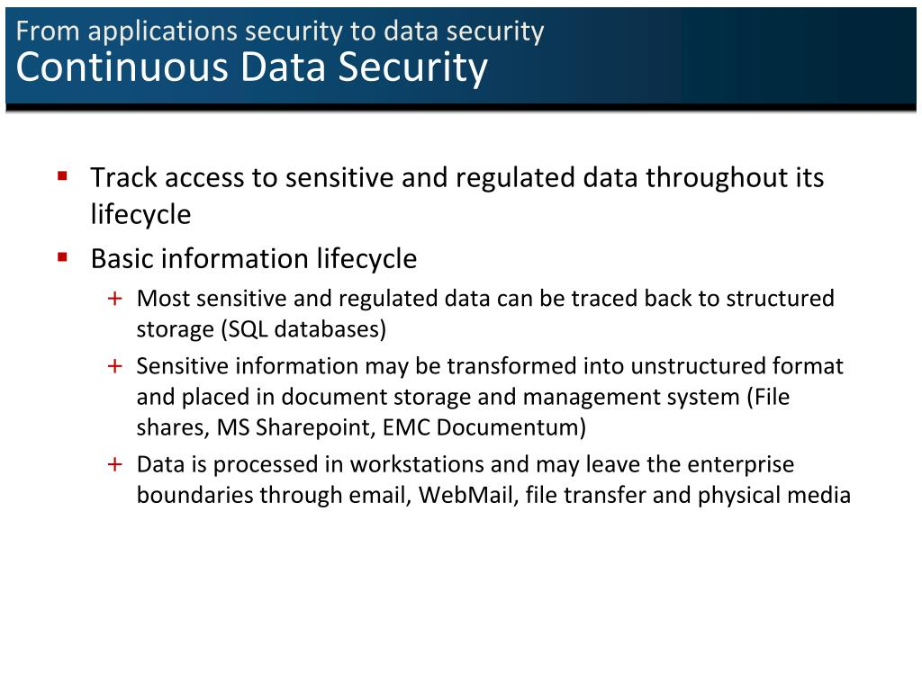 From applications security to data security