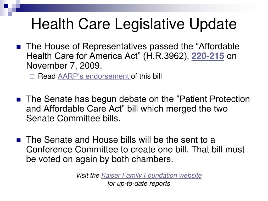 Health Care Legislative Update