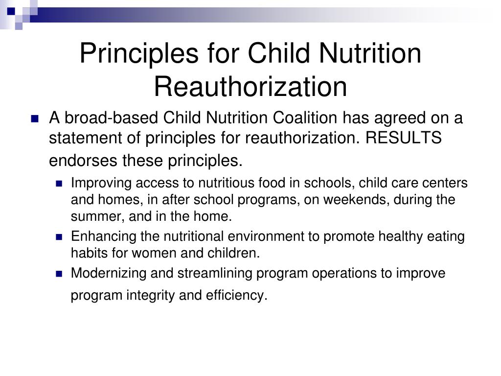 Principles for Child Nutrition Reauthorization