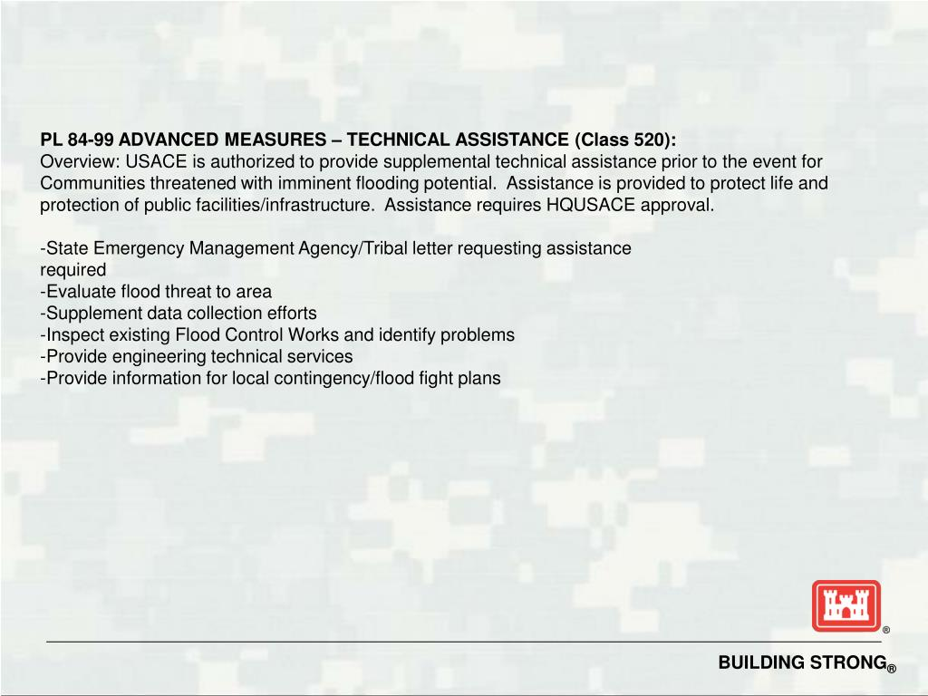 PL 84-99 ADVANCED MEASURES – TECHNICAL ASSISTANCE (Class 520):