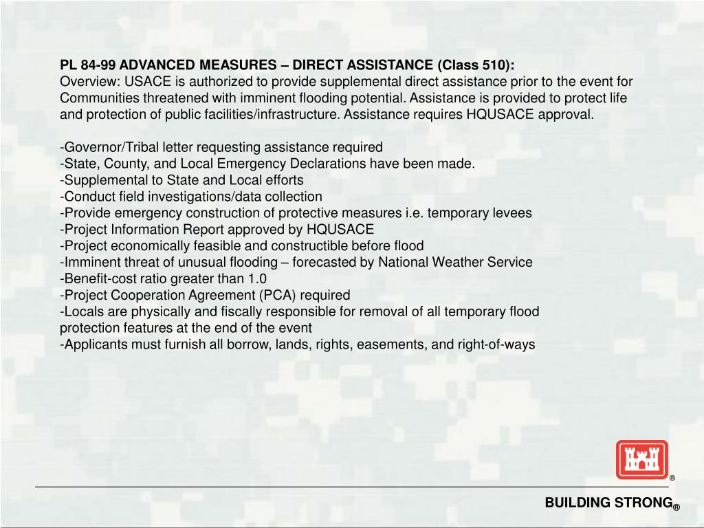 PL 84-99 ADVANCED MEASURES – DIRECT ASSISTANCE (Class 510):