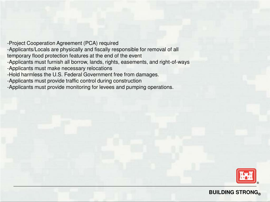 -Project Cooperation Agreement (PCA) required