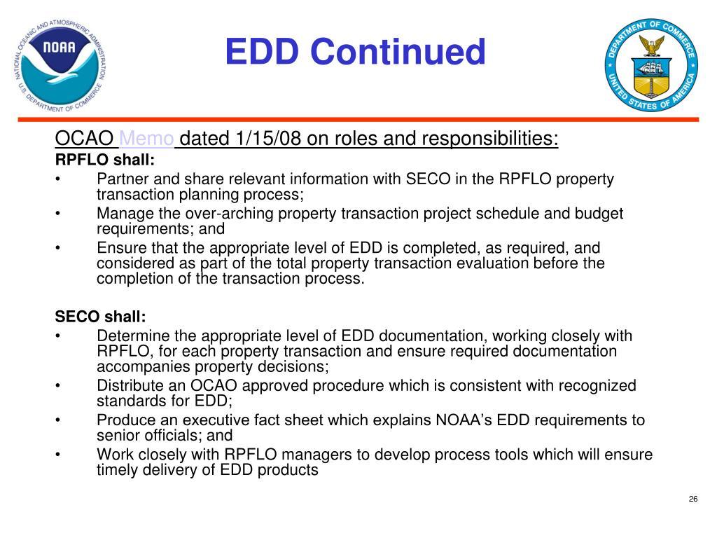EDD Continued