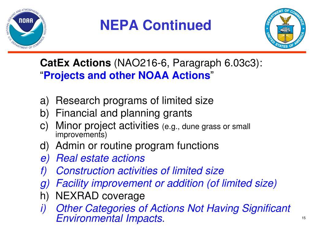 NEPA Continued