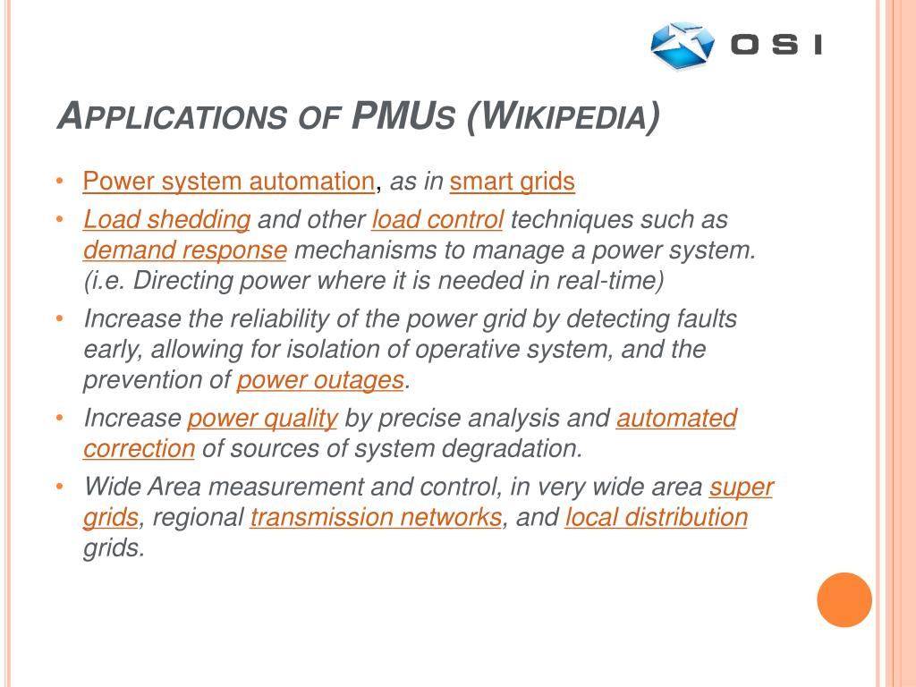 Applications of PMUs (Wikipedia)