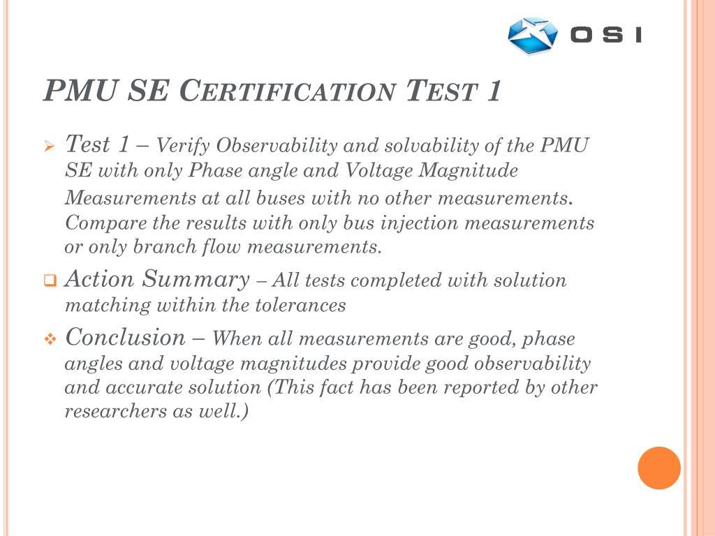 PMU SE Certification Test 1