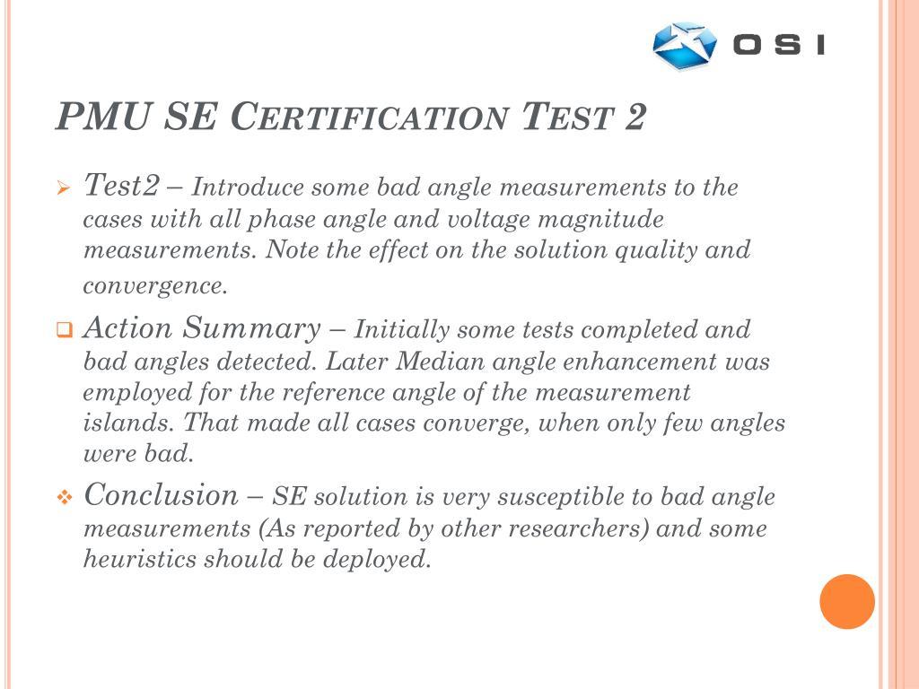 PMU SE Certification Test 2