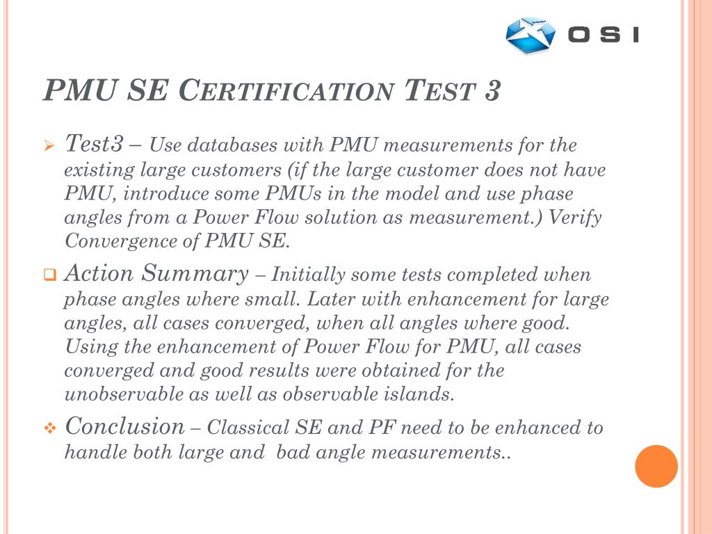 PMU SE Certification Test 3