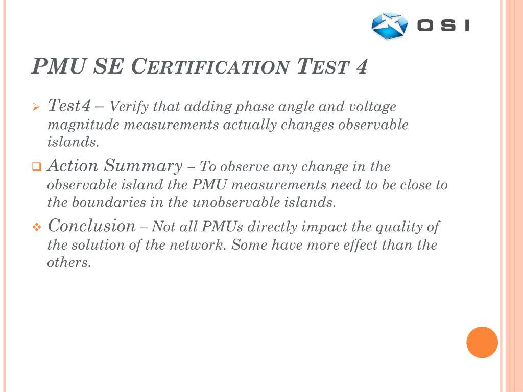 PMU SE Certification Test 4