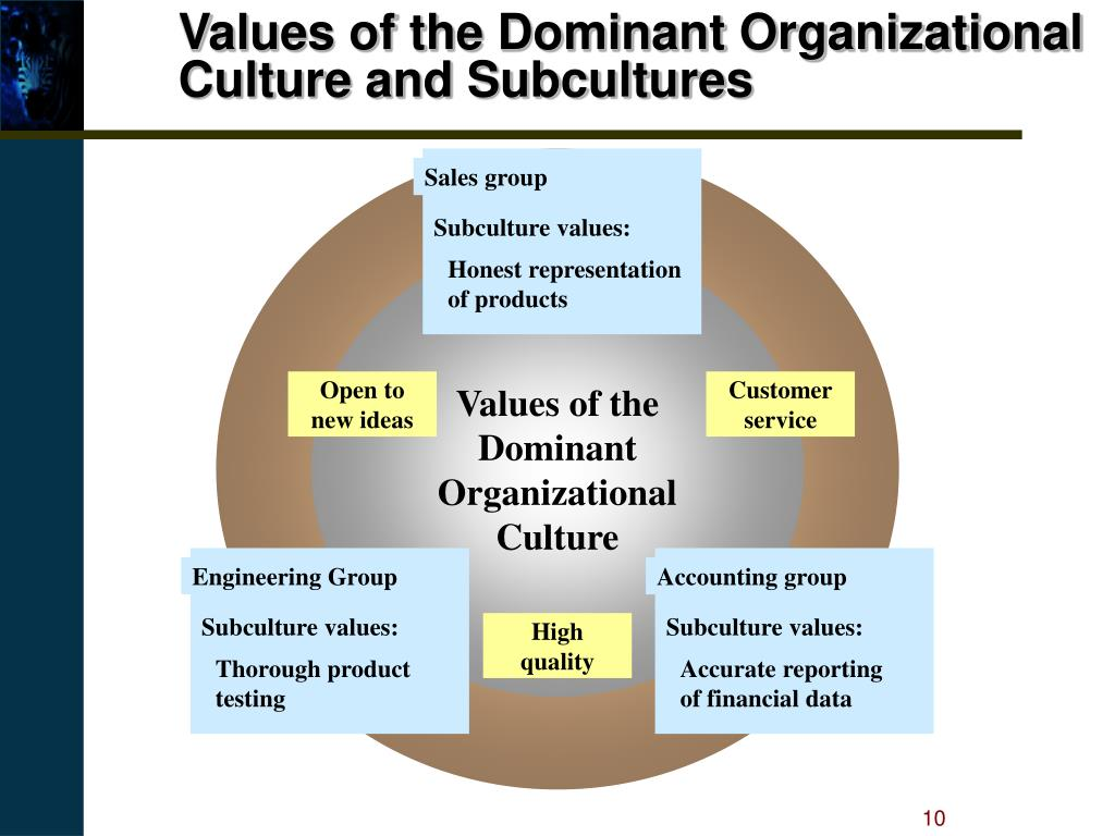 Values of the Dominant Organizational Culture and Subcultures