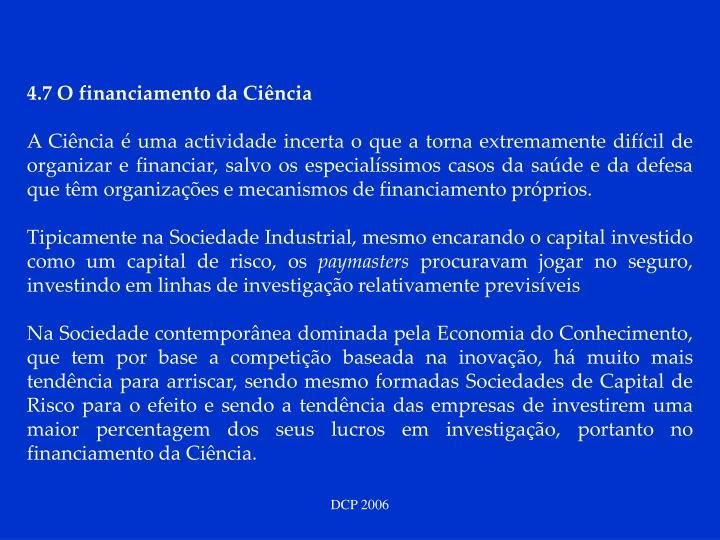 4.7 O financiamento da Ciência