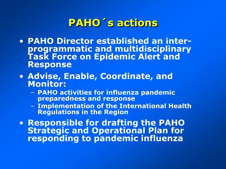 PAHO´s actions