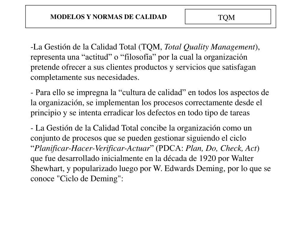 MODELOS Y NORMAS DE CALIDAD