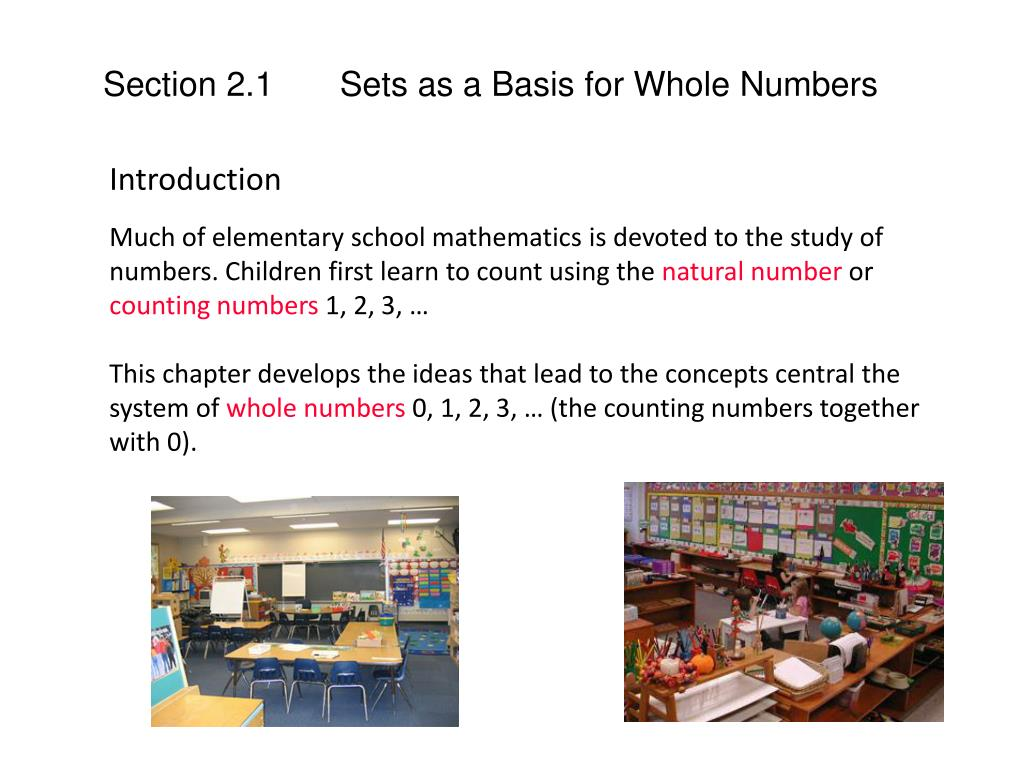 Section 2.1       Sets as a Basis for Whole Numbers