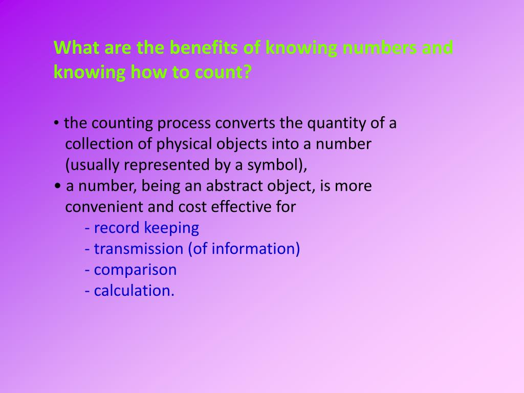 What are the benefits of knowing numbers and knowing how to count?