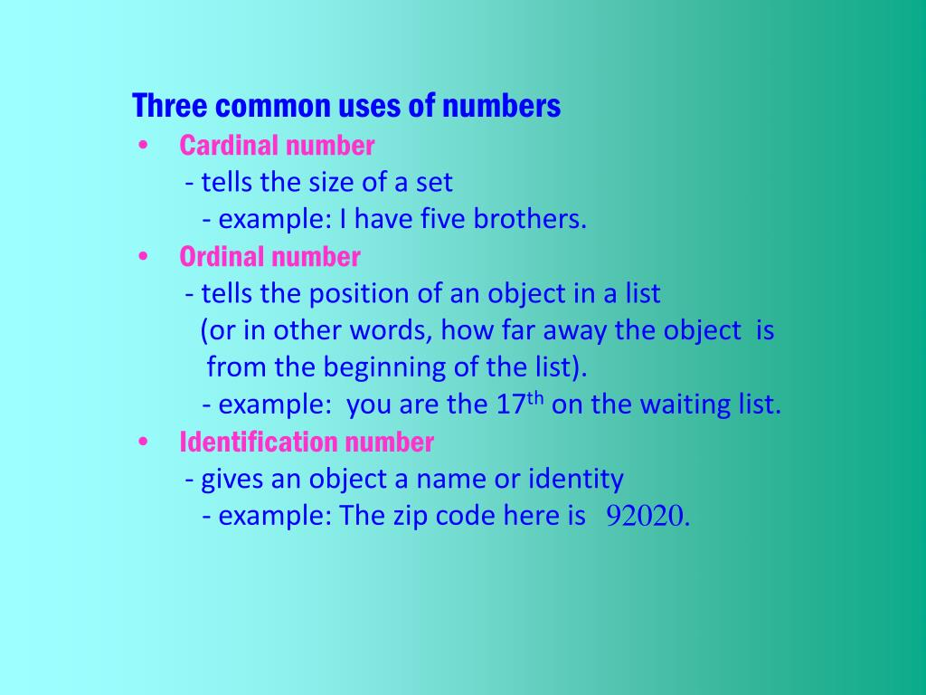 Three common uses of numbers
