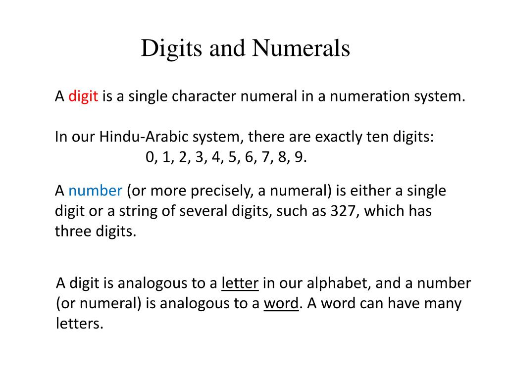 Digits and Numerals