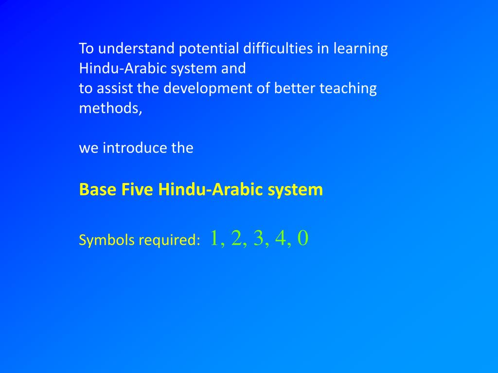 To understand potential difficulties in learning Hindu-Arabic system and