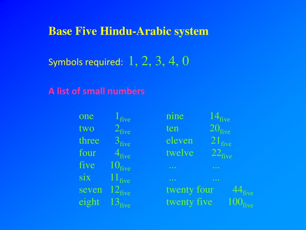 Base Five Hindu-Arabic system