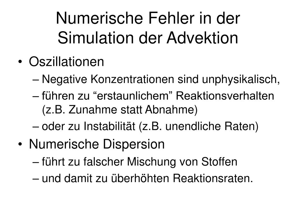 Numerische Fehler in der Simulation der Advektion