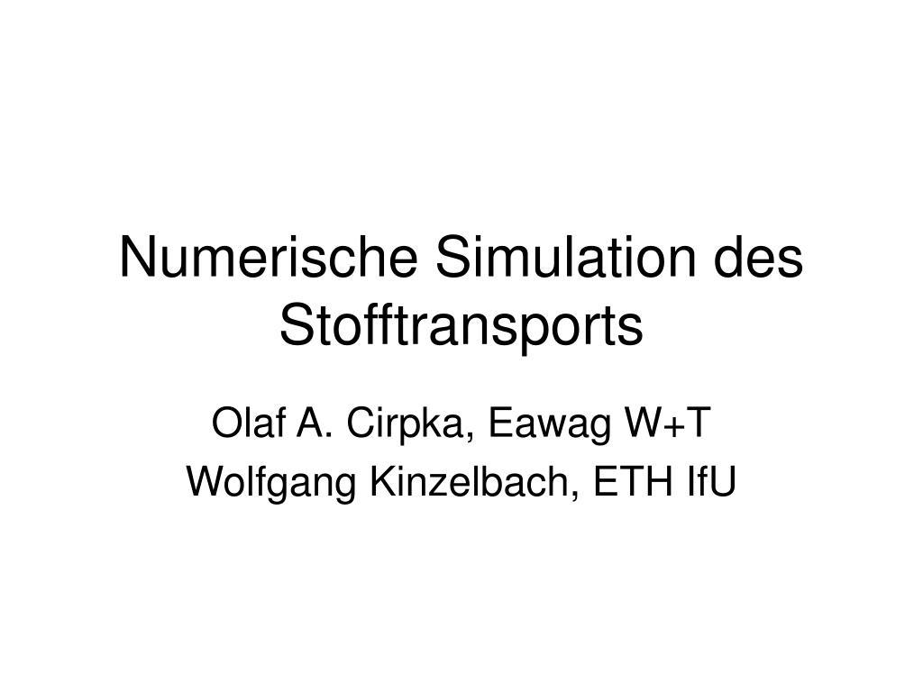 Numerische Simulation des Stofftransports