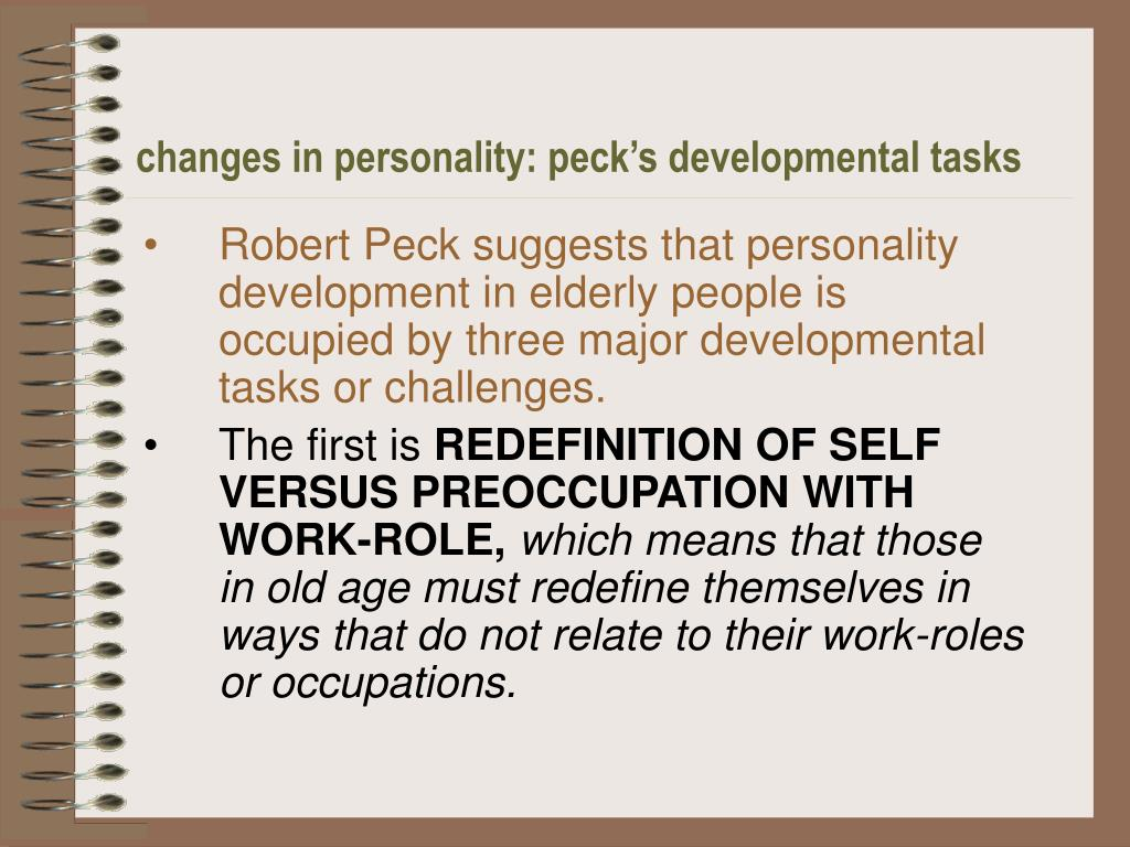 changes in personality: peck's developmental tasks