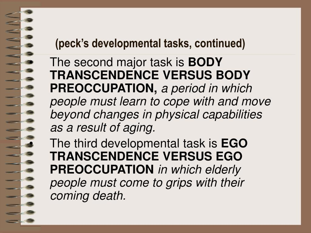 (peck's developmental tasks, continued)