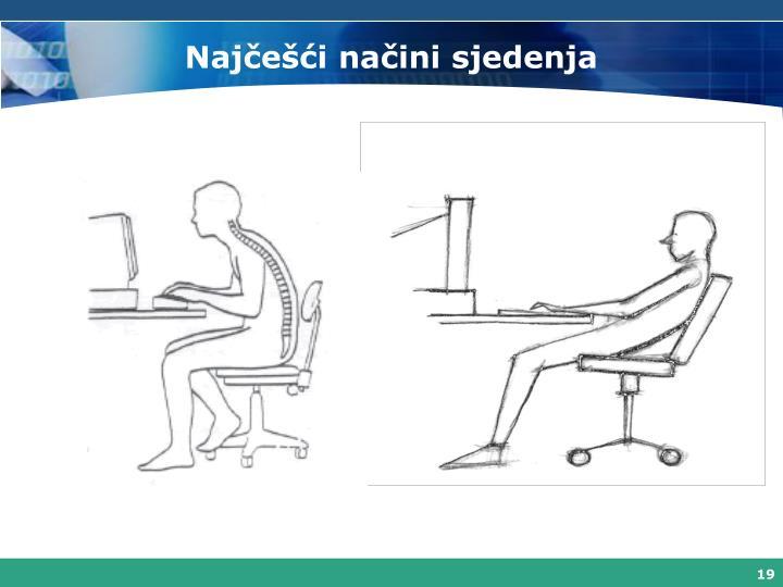 Najčešći načini sjedenja