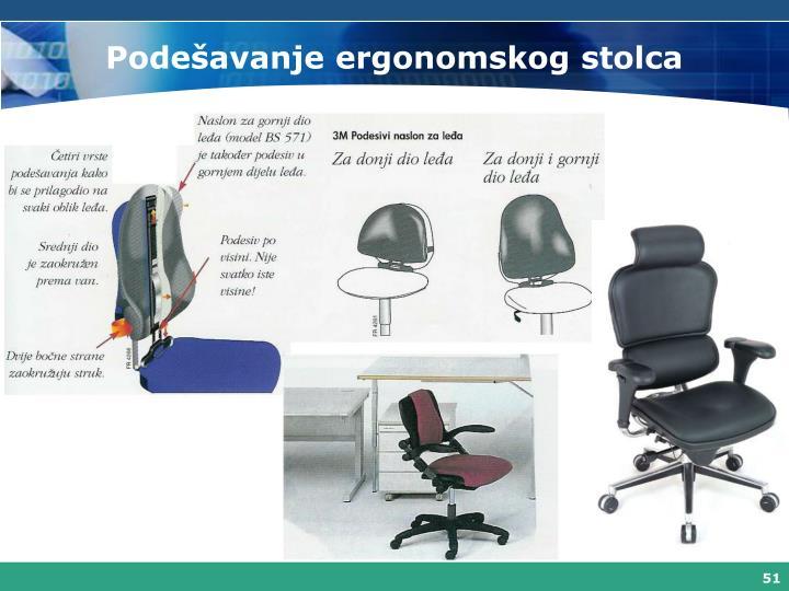 Podešavanje ergonomskog stolca