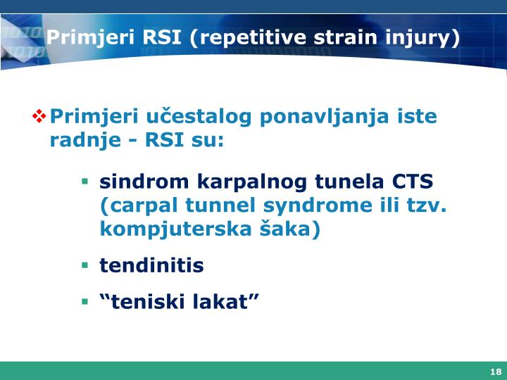 Primjeri RSI (repetitive strain injury)