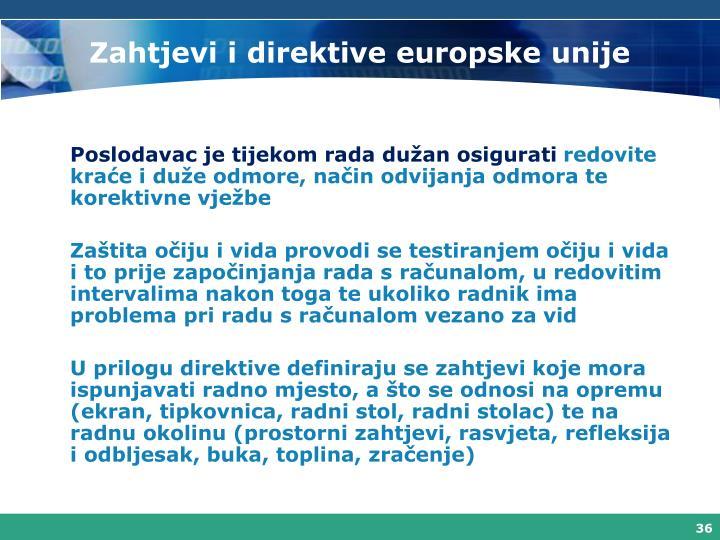 Zahtjevi i direktive europske unije