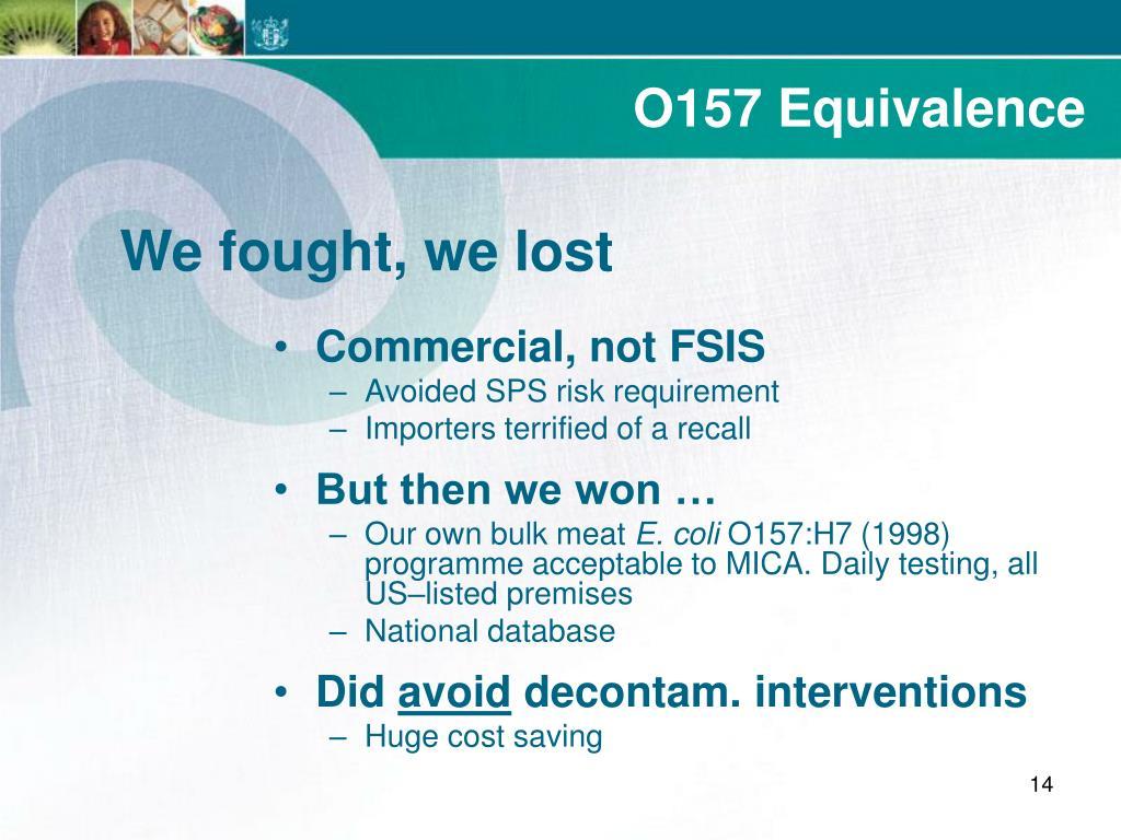 O157 Equivalence