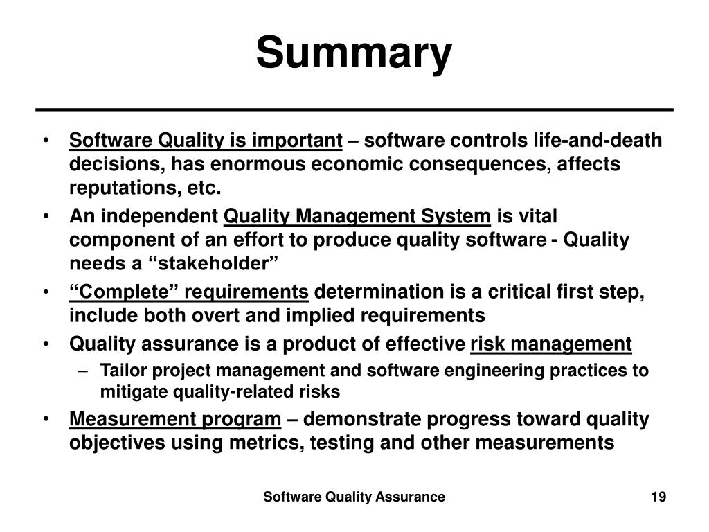 ppt software quality assurance lecture notes m d dykton 21 references