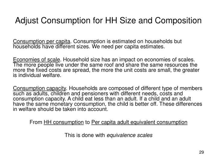 Adjust Consumption for HH Size and Composition