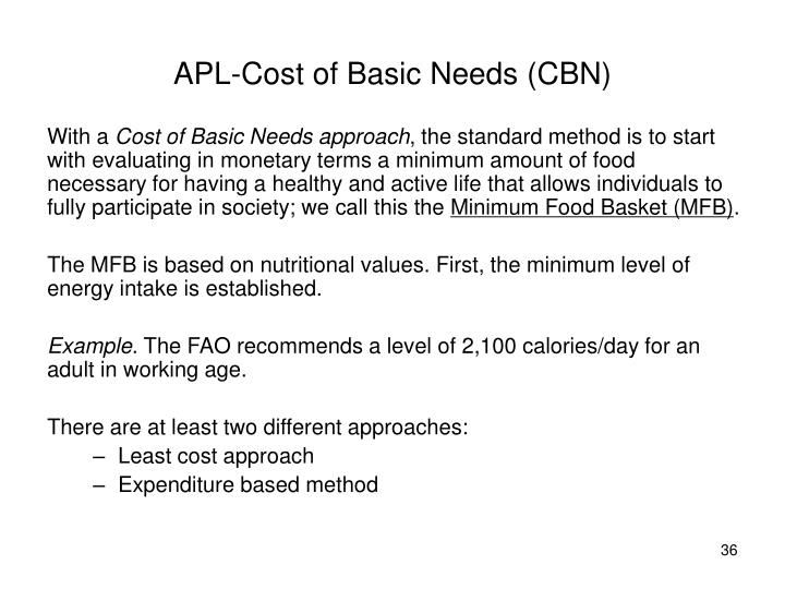 APL-Cost of Basic Needs (CBN)
