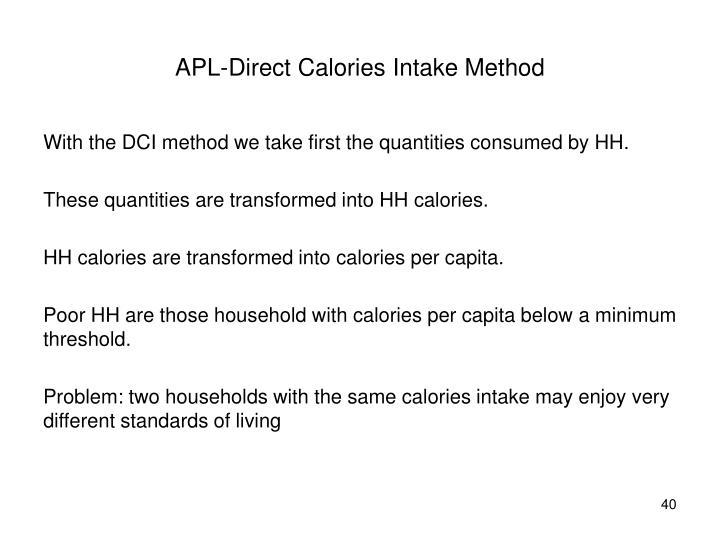 APL-Direct Calories Intake Method