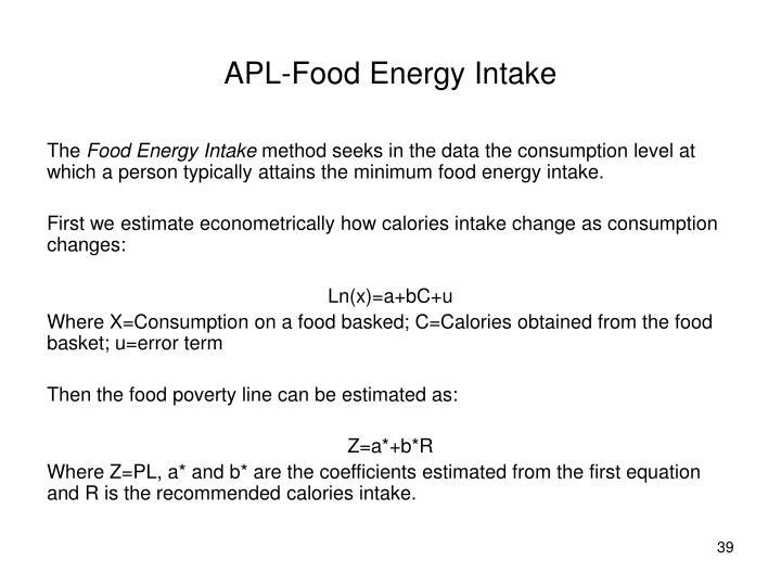 APL-Food Energy Intake