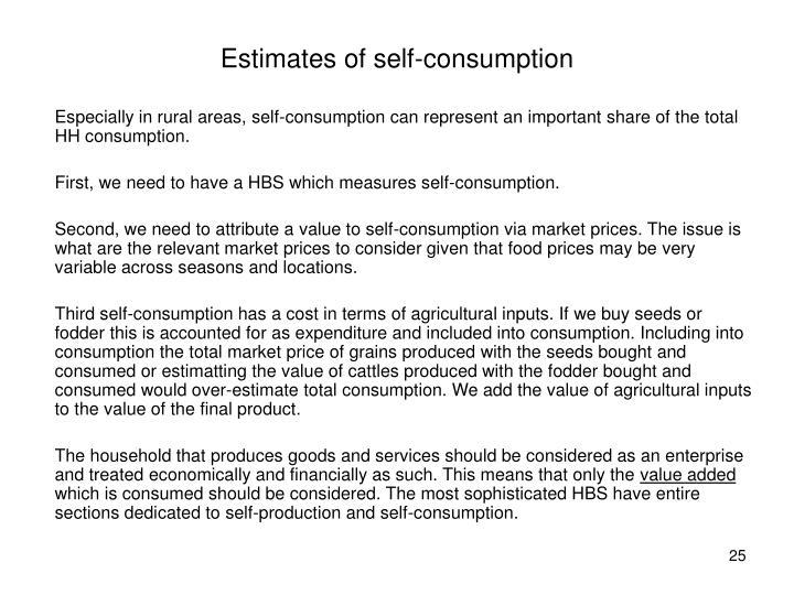 Estimates of self-consumption