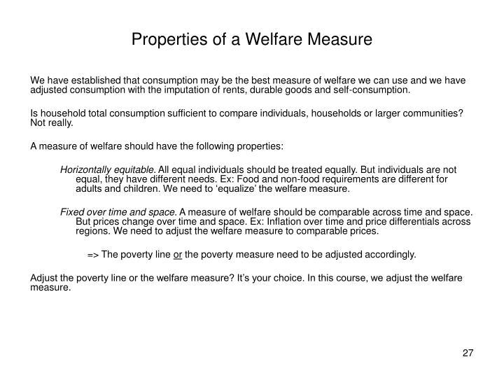 Properties of a Welfare Measure