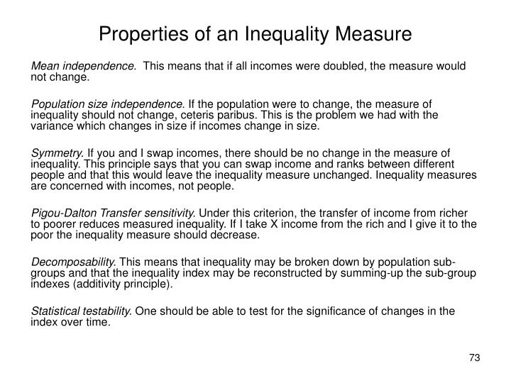 Properties of an Inequality Measure