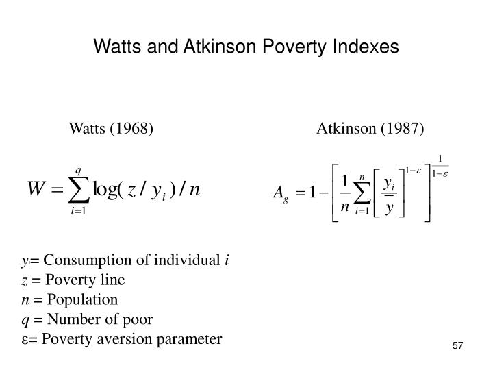 Watts and Atkinson Poverty Indexes