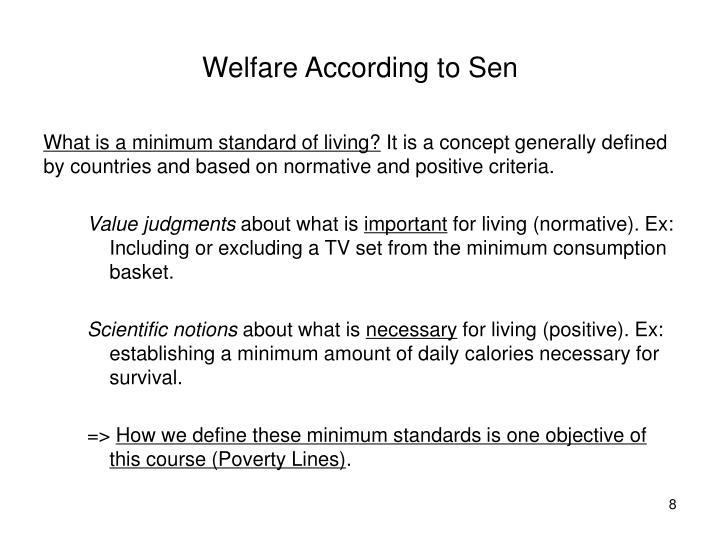 Welfare According to Sen