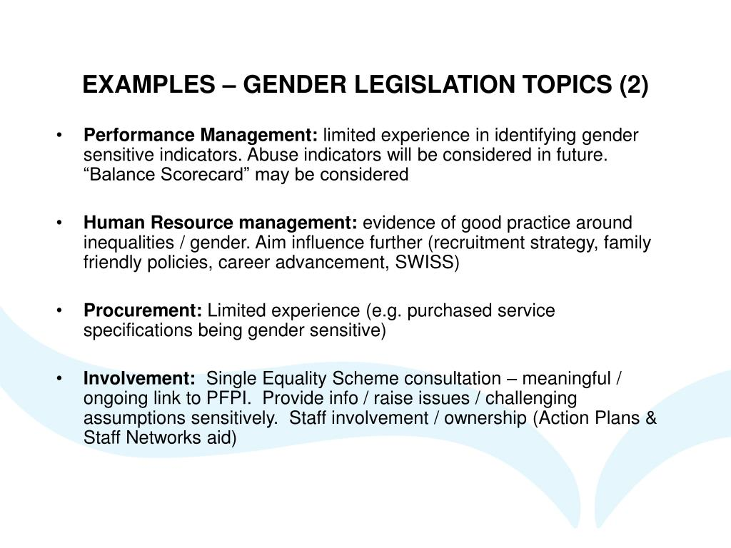 EXAMPLES – GENDER LEGISLATION TOPICS (2)